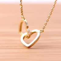 crossed OPEN HEART, never apart necklace, 2colors   girlsluv.it