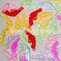 20 Translucent Gun Shaped Pony Beads Charms for kandi EDC bracelets rave raver crafts necklaces earrings pendants handgun cowboy bubblegum