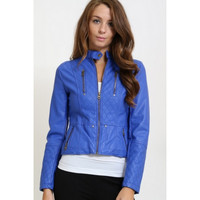 Blue Moto Leatherette Woman's Jacket Coat