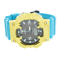 Casio G-Shock Mens Watch Blue Band Custom Lab Diamond Bezel