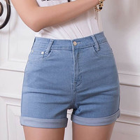 Light Blue High-Waisted Stretchy Rolled-Up Denim Shorts