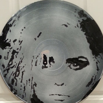 Painting on Records - Debbie Deborah Harry - Blondie French Kissin' - Handpainted Art on Vinyl Record - Free Shipping