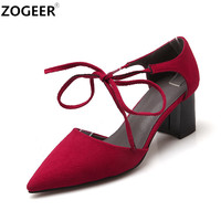 2017 Fashion Spring Women Pumps thick medium Heels Brand Pointed Toe Pumps Lace-up Ankle Strap Elegant Women Shoes