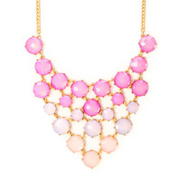 Peyton Pink Ombre Opal Crystals Statement Necklace