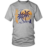 Hawaii Sunset and Palm Trees Men's Fashion Cool Cotton Casual Printed Short Sleeve Tops & T-shirt