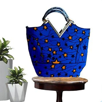BABE African Print Top Handle Tote Blue