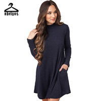 2016 Fall Winter Pocket Sweater Dress Sleeve Knit Wool Vestido Fashion Casual Style Vestidos Dresses Women Dress LYQ013