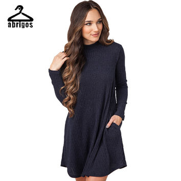 2017 Spring New Pocket Sweater Dress Sleeve Knit Wool Vestido Fashion Casual Style Vestidos Dresses Women Dress LYQ013