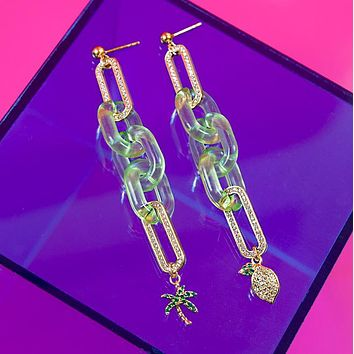 Palm Tree Lemon Mismatch Earrings