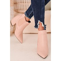 Rule The World Faux Leather Booties (Blush)