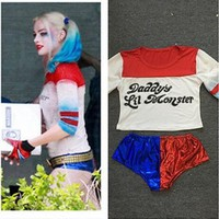 Harajuku Harley Quinn Suicide Squad T Shirt Shorts Batman delivery 15 business days
