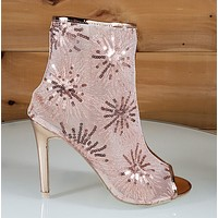 """Mac J Rose Gold Sequin Mesh Open Toe Ankle Boot - 4"""" High Heel Shoes"""