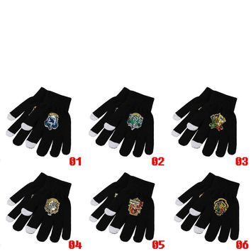 Cool Harri Potter Deathly Hallows Hogwarts Gryffindor Slytherin Ravenclaw Hufflepuff Symbol Knitted Gloves Cosplay Costume Gift CoolAT_93_12