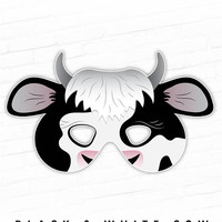 Printable Cow Mask, Spotted Cow Costume, Black and White Cow, Farm Animals, Barnyard, Animal Mask, Halloween Mask, Nativity Set Costume, Cow