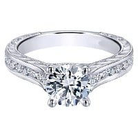 Gabriel Ophelia Engraved Cathedral Diamond Engagement Ring