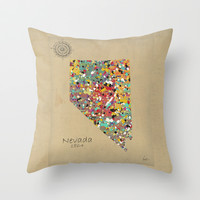 Nevada state map Throw Pillow by bri.buckley
