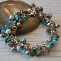 Bracelet of Petoskey stone nuggets and Turquoise, crystals, and pearls, Lake Michigan Bracelet, Petoskey and Turquoise charm bracelet