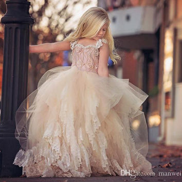 DK Bridal New Fashion Lace Tulle Flower Girl Dresses Sweety Little Girl's Pageant First Communion Party Gown