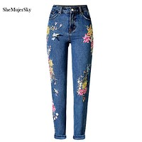 3D Embroidery High Waist Jeans Women 2017 Fashion Straight Denim Embroidered Jeans Woman Pants