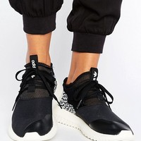 adidas Originals Black Tubular Sneakers With Cracked Leather Detail at asos.com