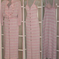 Vintage Early 1970s Pink White Striped Knit Maxi & Jacket Set by Young Dimensions for Saks Fifth Avenue / nowandthenstyle