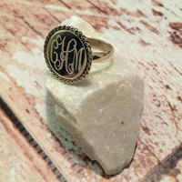 """Silver Round 0.7"""" Ring with Rope Accent -add your monogram!"""