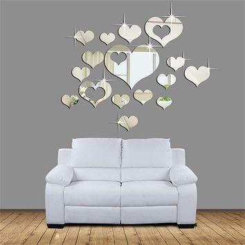 3D Removable Heart Art Decor Wall Stickers Living Room Decorations Decals  W_C (Color: Silver) = 1645817604