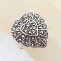 Estate JUDITH JACK Sterling Silver Marcasites Heart Ring Original Tag
