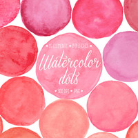 Watercolor Dots Clipart. Hand Painted Pink, Peack & Red Watercolor Circles, Splotches Clip Art. Paint Frames, Bubbles for Blog, Scrapbooking