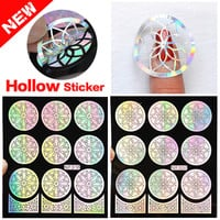 2016 New 1pcs Silver Hollow Vinyls Nail Art Stamp Stamping Stencil Nail Sticker Guide Manicure Nail Tools