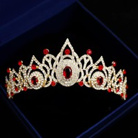 Baroque Gold Red Blue Gemstone Wedding Crowns Crystal Bridal Tiaras Medieval Cosplay