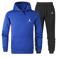 JORDAN Fashion Men Women Warm Hooded Top Sweater Pants Set Two-Piece Sportswear Blue