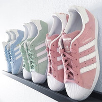 adidas Originals Superstar Pink/Mint Green Fashion Shell-toe Series Flats Sneakers Sport Shoes