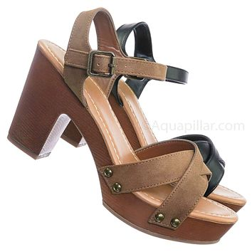 Economy Sculpted Chunky Block Heel Clogs - Womens Lightweight Wood Base Sandal