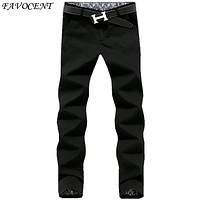 2017 new arrival men's fashion Pure color casual trousers youthful korean slim style men's full-length all-match pants plus size
