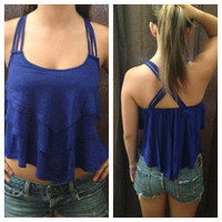 In Style Royal Blue Crop Tier Top with Cross Strap Back