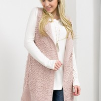 Sleeveless Knitted Front Drop Vest | Blush