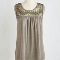 Mid-length Sleeveless Overnight Oats Top in Taupe