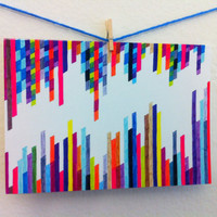 "Colorful Art Stationery - ""Crazy Lines F""  Graph Drawing - Notecard/Stationery"