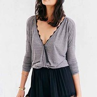 Silence + Noise Lace-Edge Surplice Top - Urban Outfitters