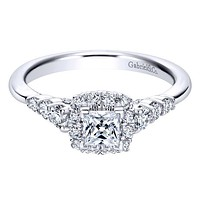Gabriel Pre-Set Princess Cut Diamond Halo Engagement Ring