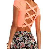 Neon Strappy Open Back Crop Top by Charlotte Russe - Neon Coral