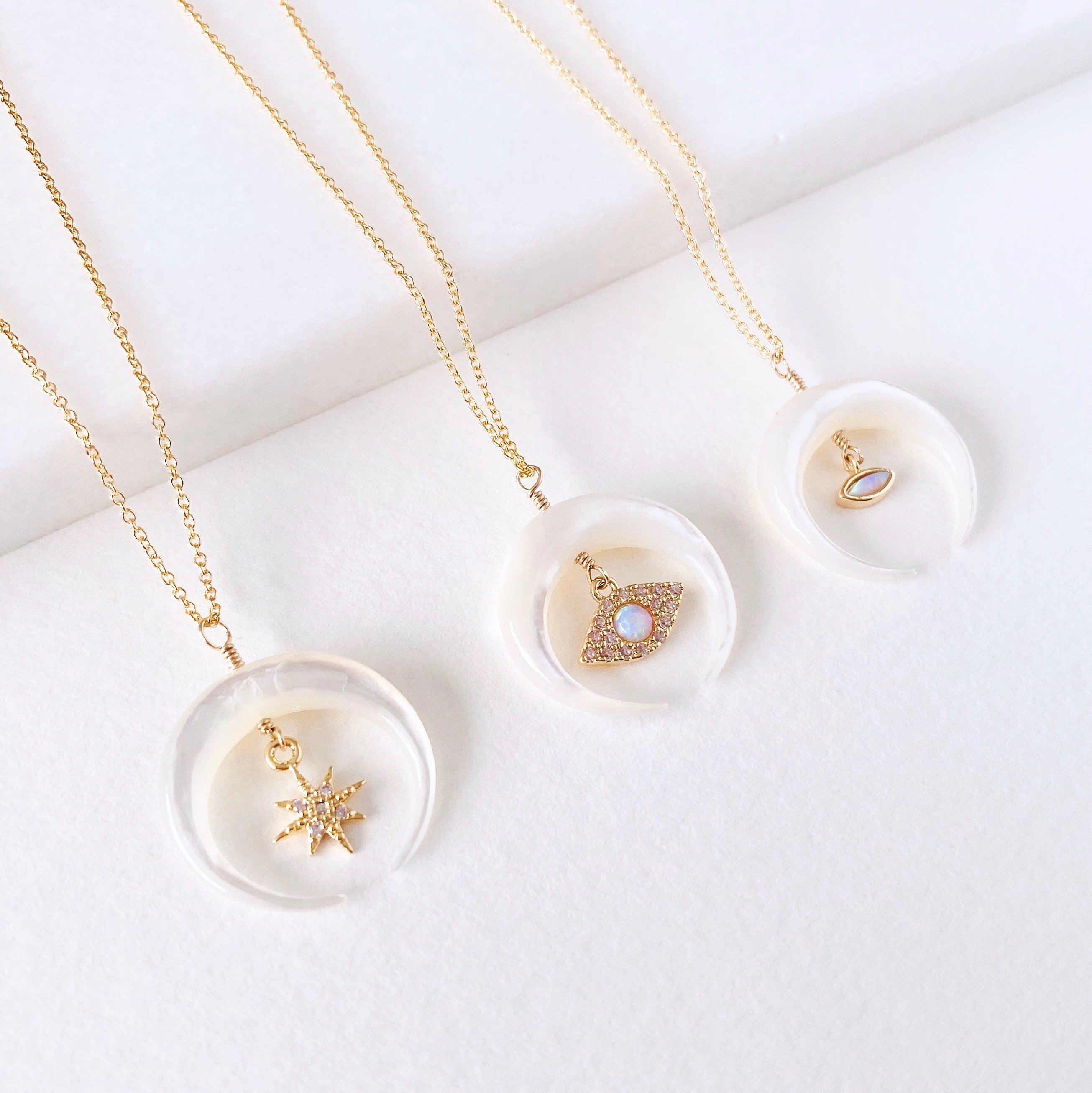 Image of Mother Of Pearl Crescent Moon Charm Necklace