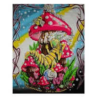 Mushroom Caterpillar Blacklight Tapestry Cloth Wall Hanging