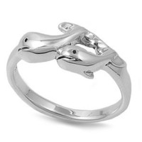Sterling Silver Ring-Twin Whale Design-Size 10