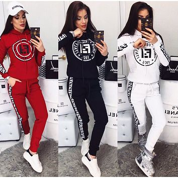 FENDI WomenS Casual Round Collar Top Pants Set Two-Piece