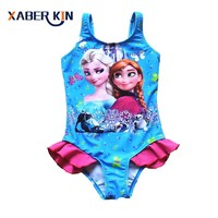 2016 New Girls 3-10Y Swimsuit Elsa & Anna One Piece Children Swimwear Baby Swimsuit Bathing Suit Summer Style For Kids SW901CGR1
