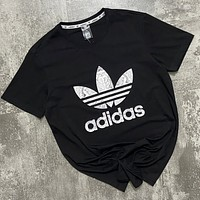 Adidas New Summer Fashion Letter Leaf Print Women Men Top T-Shirt Black