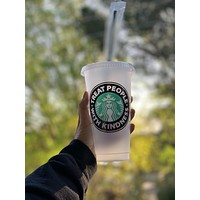 2 Treat People With Kindness Custom HOT & COLD Starbucks Cups