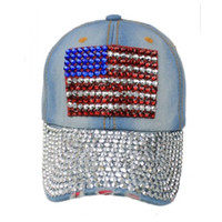 """""""Patriotic Me"""" Red White and Blue """"Bling"""" American Flag Denim Hat"""